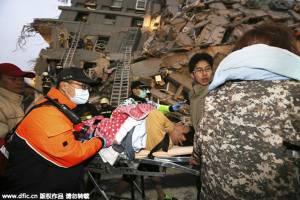 แผ่นดินไหวไต้หวัน เสียชีวิตแล้ว 23 คน เป็นเด็ก 6 คน  อีก 120 คนติดอยู่ในอาคาร