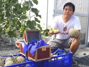 """""""สวนผักสวัสดี"""" ปิดประมูลผลเมล่อน """"โกมุ โกมุ"""" จากการ์ตูนดังญี่ปุ่นยอดพุ่ง 1.5 หมื่น"""