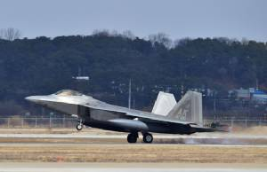 US F-22 stealth fighters fly over S. Korea in show of force