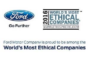 ฟอร์ด คว้ารางวัลองค์กรที่มีจริยธรรมสูงสุดของโลกประจำปี 2016 จากสถาบันเอธิสเฟียร์