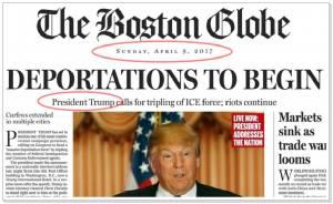 "In Clip :""บอสตันโกลบ"" ล้อเลียนทรัมป์สุดเจ็บ ปลอมข่าวหน้าหนึ่ง ""เกิดอะไรขึ้นวันแรกทรัมป์เหยียบทำเนียบขาว"" เจ้าพ่ออสังหาฯฉุนขาด ""ไร้สาระ"""