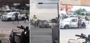 [ชมคลิป] นาทีระทึก ตำรวจจับพ่อค้ายาบ้า ยิงสนั่นกลางสี่แยกไฟแดง
