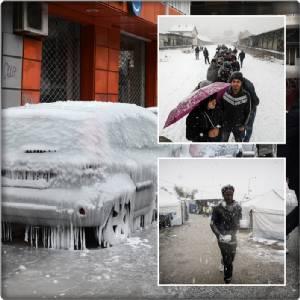 ชมชุดภาพความทารุณฤดูหนาว: ยุโรปวิกฤตต่อเนื่อง สุดขนลุก!! ยอดเสียชีวิตพุ่ง 61 แม่น้ำดานูบระงับขนส่ง เอเธนส์ทิ้งผู้อพยพนอนกางเต็นท์หิมะท่วม