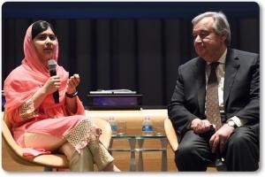 """InPics&Clip:""""มาลาลา ยูซาฟไซ"""" กลายเป็น """"ผู้ส่งสารสันติภาพยูเอ็น"""" อายุน้อยสุดในโลก"""
