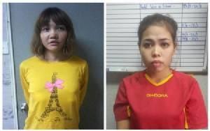 """สองสาวมือสังหาร """"คิม จองนัม"""" สวมเสื้อเกราะกันกระสุนไปศาล"""