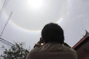 ฮือฮา... ปรากฏการณ์พระอาทิตย์ทรงกลด ปกคลุมท้องฟ้าเมืองสระแก้ว-จันทบุรี