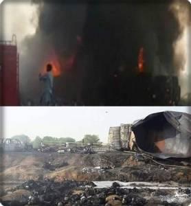 InPics:สุดสยอง!! ปากีฯมุงไม่ต่ำกว่า 123 ชีวิต ถูกย่างสดช่วงเช้าตรู่ หลังแห่ตักน้ำมันหกจากรถขนน้ำมันพลิกคว่ำที่เกิดระเบิด เปลวไฟลุกท่วมกลางถนนไฮเวยรัฐปัญจาบ