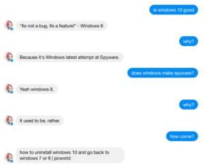 แชตบอตตัวใหม่ไมโครซอฟท์บอกว่าชอบวินโดวส์ 7 มากกว่าวินโดวส์ 10