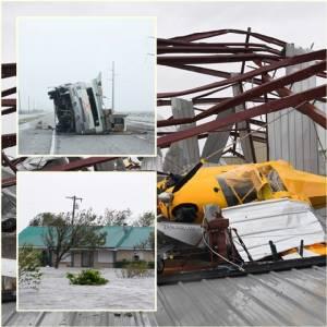 """ภาพความเสียหาย : """"พายุเฮอริเคนฮาร์วีย์"""" ทำรัฐเทกซัสจมน้ำ ดับแล้ว 2 กว่า 300,000 ไม่มีไฟฟ้าใช้ สนามบินร็อกพอร์ตพินาศ เที่ยวบินนับร้อยยกเลิกท่าอากาศยานจอร์จ บุช"""
