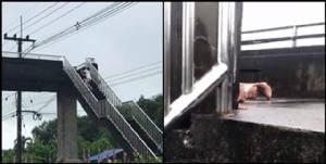 กลางวันแสกๆ ! หนุ่มแอบถ่ายคู่วัยรุ่น ทำอุบาทว์บนสะพานลอย ชาวเน็ตรุมประณาม ร้องเจ้าหน้าที่จัดการด่วน