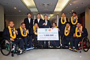 ซีพีเอฟ มอบเงินอัดฉีด 1 ล้านบาท วีลแชร์บาสฯทีมชาติไทยคว้าแชมป์อาเซียนพาราเกมส์สมัยที่ 6