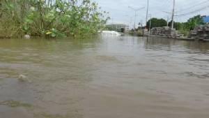 น้ำเจ้าพระยาลอดทะลุใต้พนังกั้นน้ำทะลักเข้าเมืองเป็นโพรงขนาดใหญ่