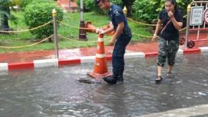 ฮือฮา! ฝนตกหนักน้ำท่วมกรุง ปลาดุกหลุดว่ายเข้า สตช.ไม่รอด ถูกจับโดยละม่อม