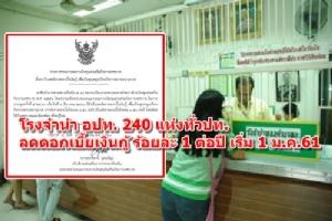 โรงจำนำ อปท.240 แห่งทั่วประเทศ ประกาศลดดอกเบี้ยเงินกู้ร้อยละ 1 ต่อปี เริ่ม 1 ม.ค. 61