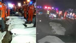 รถทัวร์เสียหลักพุ่งชน 18 ล้อ ที่วังน้ำเขียว ยอดตายพุ่งเกือบ 20 รายแล้ว !