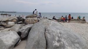 ปีละครั้ง! โขดหินหลายร้อยก้อนโผล่ นทท.แห่ถ่ายรูปแน่นหาดหัวหิน