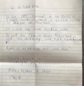 """สุดซึ้ง!  หนูน้อยเขียนจดหมายถึงนายกฯเนเธอร์แลนด์  เพื่อให้ช่วย""""ทีมหมูป่า"""""""