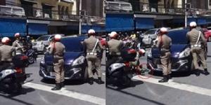 ระทึก! ขับรถผิดกฎหมายและพยายามหนี ตำรวจจะล็อกล้อ สุดท้ายโดนล้อมจับ (ชมคลิป)