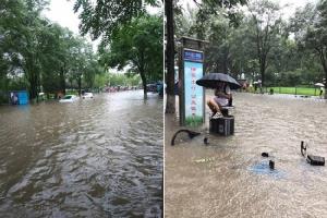 """""""ทะเลปักกิ่ง"""" เมืองหลวงแดนมังกรน้ำท่วมหนัก เหตุจากพายุฝน 3 วันติด [คลิป]"""