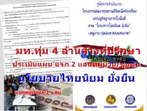 มท.ทุ่ม 4 ล้าน จ้างที่ปรึกษา ประเมินแผนแจก 2 แสน หมู่บ้าน/ชุมชน นโยบายไทยนิยม ยั่งยืน