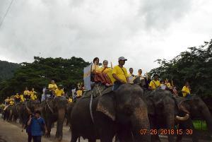 ตระการตา! ชาวแม่แตงแห่เทียนพรรษาบนหลังช้าง 66 เชือก เฉลิมพระเกียรติ ร.๑๐ ยิ่งใหญ่