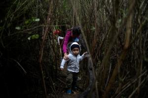 มาเตโอ (Mateo) เด็กชายวัย 2 ปีจากฮอนดูรัส อเมริกากลาง อพยพมาพร้อมมารดา ฮัวนา มาเรีย(Juana Maria) เดินทางผ่านป่า หลังจากคาราวานผู้อพยพที่ประกอบไปด้วย 24 ครอบครัวแอบข้ามแม่น้ำแกรนด์ ริโอ(the Rio Grande river) เส้นแบ่งพรมแดนระหว่างสหรัฐฯและเม็กซิโก เพื่อเข้าสู่สหรัฐฯในฟรอนทัน (Fronton) รัฐเทกซัส ภาพประจำวันพฤหัสบดี(18) รอยเตอร์