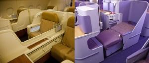 ที่นั่งการบินไทย (ซ้าย) ชั้นเฟิร์สคลาส (ขวา) ชั้นธุรกิจ