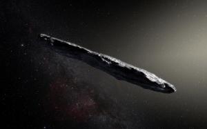 ภาพจำลองของโอมูอามูอา วัตถุอวกาศจากนอกระบบสุริยะวัตถุแรกที่ตรวจพบว่าเข้ามาในระบบสุริยะของเรา (M. Kornmesser / European Southern Observatory / AFP)