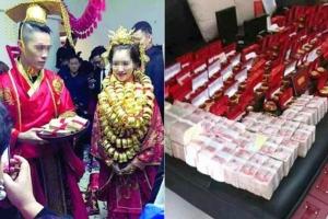 """ภาพพิธีแต่งงานในตำบลซันเซี่ยง เมืองจงซัน มณฑลกว่างตงเมื่อปี 2016 เจ้าสาวสวม """"สร้อยคอทองคำ""""เต็มตัว  ทั้งนี้ตามธรรมเนียมท้องถิ่น เจ้าภาพงานแต่งจะนำทองคำที่ญาติๆเพื่อนมิตรส่งมาให้เป็นของขวัญแก่คู่บ่าวสาว มาเรียงร้อยและคล้องคอเจ้าสาว เพื่อให้ผู้ส่งของขวัญได้เห็น (ภาพ สื่อจีน)"""