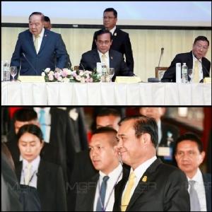 พล.อ.ประยุทธ์ จันทร์โอชา นายกรัฐมนตรีและหัวหน้า คสช. ระหว่างประชุม และหลังประชุมแม่น้ำ 5 สาย เมื่อวันที่ 7 ธ.ค.