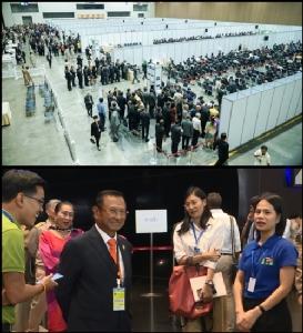 (บน) บรรยากาศการเลือก ส.ว.กันเองระดับประเทศ จาก 2,675 คน ให้เหลือ 200 คน (ล่าง) นายศุภชัย สมเจริญ อดีตประธาน กกต. ผ่านเข้ารอบ 200 คน