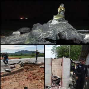 (บน) รูปปั้นนางเงือกทอง หางขาดจากเหตุระเบิดที่หาดสมิหลา จ.สงขลา (ล่าง) ความเสียหายจากเหตุระเบิดและยิงถล่มของกลุ่มโจรใต้ที่ จ.นราธิวาส