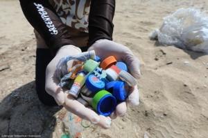 ภาชนะพลาสติกที่ตกลงสู่ทะเล