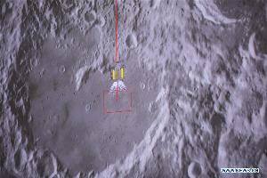 ภาพจำลองการลงจอดของยานฉางเอ๋อ 4 จากจอควบคุมที่ศูนย์ควบคุมในปักกิ่ง (Xinhua/Jin Liwang)