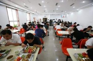 โรงอาหารของบริษัทหนึ่งในจีน ขอบคุณภาพจาก http://www.0512kuaican.com/showyiwu.asp?id=229