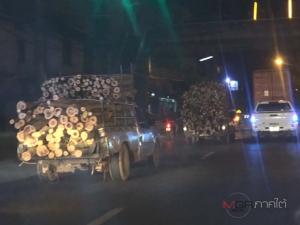 ปีใหม่แล้วรถบรรทุก 22 ล้อ กระบะบรรทุกไม้ไร้สัญญาณไฟท้ายวิ่งเกลื่อนบนทางหลวง
