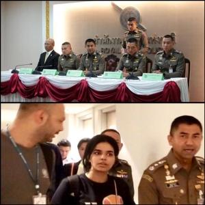 (บน) พล.ต.ท.สุรเชษฐ์ หักพาล ผู้บัญชาการสำนักงานตรวจคนเข้าเมือง นำทีมแถลง (ล่าง) น.ส.ราฮาฟ โมฮัมเหม็ด เอ็ม อัลคูนัน อายุ 18 ปี ชาวซาอุดีอาระเบีย