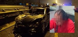 เพลิงไหม้รถเบนซ์วอด หลังเสยวีออสย่านกาญจนาภิเษก เสี่ยคนขับพกปืนไม่ยอมเป่าวัดแอลกอฮอล์