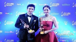 """""""ก๊อต จิรายุ"""" ควงแขน """"ออกัส วชิรวิชญ์"""" ขึ้นคว้ารางวัล """"Asian Television Awards 2018"""""""