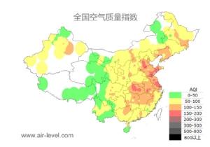 ดัชนี Air Quality Index ของจีนที่ประกาศ ณ วันที่ 22 มกราคม 2019 (ที่มา เอเจนซี่)