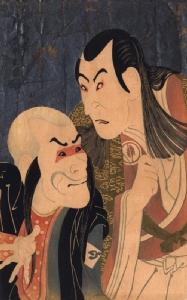 """""""ภาพนักแสดง"""" ผลงานของชารากุ ปี 1794 จากเรื่องโยชิตสึเนะ เซ็มบน ซากุระ ซ้าย : บทเบ็งเก, ขวา : บทโยชิตสึเนะ"""
