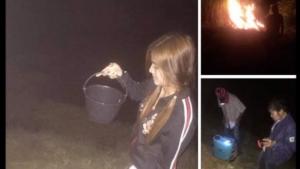 ภาพจากเฟสบุ๊ค ขณะหญิงสาวรายนี้ กำลังเผาไร่อ้อย เตรียมตัดส่งขายโรงงานน้ำตาล