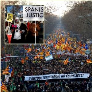 In Pics: ร่วม 200,000 ประท้วงไต่สวน 12 กบฎแคว้นกาตาลุญญา 1 วันหลังนายกฯสเปนสั่งยุบสภา