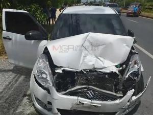 สาวขับเก๋งตกใจเหยียบคันเร่งแทนเบรกชนดะรถสองแถว-มอไซค์ บาดเจ็บ 1 ราย