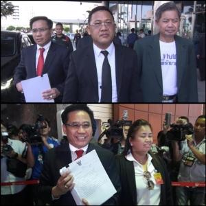 (บนกลาง) นายสุรชัย ชินชัย และนายนรวิชญ์ หล้าแหล่ง ทนายความพรรคไทยรักษาชาติ