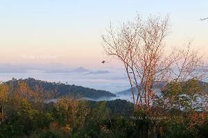 มองไปทางขวามือจะเห็นภูเขายอดแหลมไกลๆ นั่นคือยอดเขาฆูนุงซิลิปัต