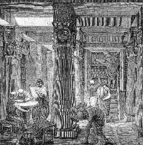 ภาพวาดห้องสมุด  Alexandria ที่วาดขึ้นตามหลักฐานโบราณคดีที่ขุดพบ