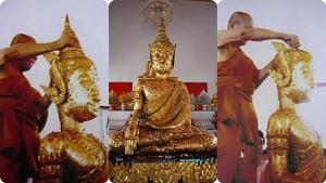 น้ำผุดขึ้นมาจากพระพุทธรูปเปิดเศียร! เป็น ๑ ใน ๑๐๘ น้ำศักดิ์สิทธิ์ในพิธีบรมราชาภิเษก!!
