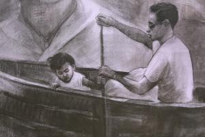 ทรงพระเจริญ! ศิลปินขัวศิลปะจับถ่านชาโคลวาดพระบรมสาทิสลักษณ์ สมเด็จพระเทพฯ สุดงดงาม