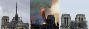 ภาพเปรียบเทียบมหาวิหารน็อทร์-ดามแห่งปารีสในช่วงก่อนและหลังเกิดเพลิงไหม้เมื่อวันที่ 15 เม.ย. ที่ผ่านมา
